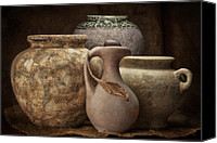 Stoneware Canvas Prints - Clay Pottery I Canvas Print by Tom Mc Nemar
