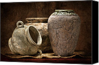 Stoneware Canvas Prints - Clay Pottery II Canvas Print by Tom Mc Nemar