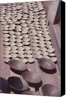 Wheel Thrown Canvas Prints - Clay Yogurt Cups Drying In The Sun Canvas Print by David Sherman