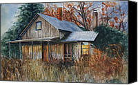 Indiana Drawings Canvas Prints - Claytons Place Canvas Print by Mary Jo Jung