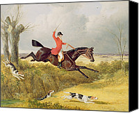 Dogs Canvas Prints - Clearing a Ditch Canvas Print by John Frederick Herring Snr