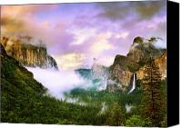 Storm Prints Canvas Prints - Clearing Storm Over Yosemite Valley Canvas Print by Edward Mendes