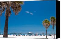 Palm Trees Canvas Prints - Clearwater Beach Canvas Print by Adam Romanowicz