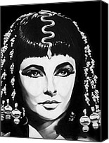 Jeff Drawings Drawings Canvas Prints - Cleopatra Canvas Print by Jeff Stroman