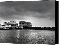 Cleveland Stadium Canvas Prints - Cleveland Browns Stadium From The Inner Harbor Canvas Print by Kenneth Krolikowski