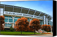 Spectators Canvas Prints - Cleveland Browns Stadium Canvas Print by Kenneth Krolikowski