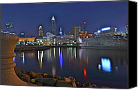 Cleveland Stadium Canvas Prints - Cleveland Harbor Canvas Print by Robert Harmon