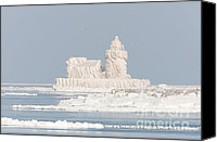 Beacon Canvas Prints - Cleveland Harbor West Pierhead Light II Canvas Print by Clarence Holmes