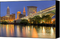Veterans Memorial Canvas Prints - Cleveland Night Skyline I Canvas Print by Clarence Holmes