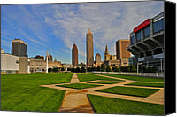 Cleveland Stadium Canvas Prints - Cleveland Skyline Canvas Print by Robert Harmon