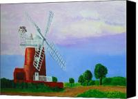 Norfolk Painting Canvas Prints - Cley Mill Canvas Print by Rodney Campbell