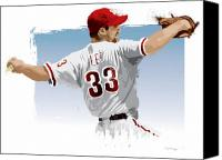 Cliff Lee Digital Art Canvas Prints - Cliff Lee Canvas Print by Scott Weigner