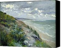 Shore Painting Canvas Prints - Cliffs by the sea at Trouville  Canvas Print by Gustave Caillebotte