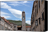 Dubrovnik Canvas Prints - Clock Tower Dubrovnik Canvas Print by Terence Davis