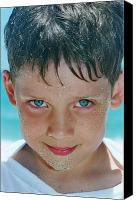 Caucasian Appearance Canvas Prints - Close Up Of Boy Covered In Sand Canvas Print by Michelle Quance