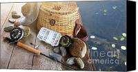 Freshwater Canvas Prints - Close-up of fishing equipment and hat  Canvas Print by Sandra Cunningham