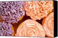 Peach Colored Canvas Prints - Close-up Of Frosted Cupcakes Canvas Print by Jupiterimages