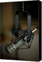 Equipment Canvas Prints - Close-up Of Recording Studio Microphone Canvas Print by Christopher Kontoes