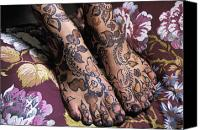 Moroccan Canvas Prints - Close-up Of Womans Feet With Henna Canvas Print by Axiom Photographic