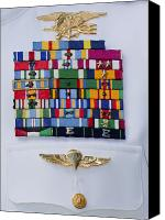 Merit Photo Canvas Prints - Close-up View Of Military Decorations Canvas Print by Michael Wood