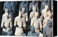 Lined Up Canvas Prints - Close Up View of Terracotta Warriors Canvas Print by George Oze