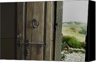 Ironworks Canvas Prints - Close View Of A Wooden Door On A Villa Canvas Print by Todd Gipstein