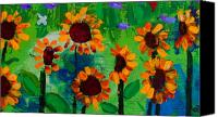 May Day Painting Canvas Prints - Closeup from Day and Night in a Sunflower Field Canvas Print by Angela Annas