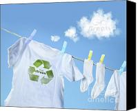 Sky Line Canvas Prints - Clothes drying on clothesline with go green sign  Canvas Print by Sandra Cunningham