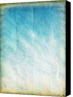 Burnt Canvas Prints - Cloud And Blue Sky On Old Grunge Paper Canvas Print by Setsiri Silapasuwanchai