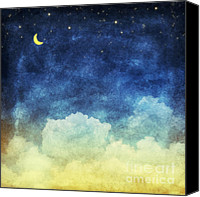 Old Pastels Canvas Prints - Cloud And Sky At Night Canvas Print by Setsiri Silapasuwanchai