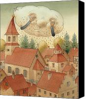 City Drawings Canvas Prints - Cloud Canvas Print by Kestutis Kasparavicius