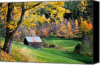 Sleepy Hollow Canvas Prints - Cloudland Rustic Barn - Pomfret Vermont Canvas Print by Thomas Schoeller