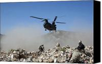 Afghanistan Canvas Prints - Clouds Of Dust Kicked Up By The Rotor Canvas Print by Stocktrek Images