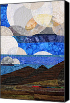 Cloth Tapestries - Textiles Canvas Prints - Clouds over the Desert Canvas Print by Linda Beach