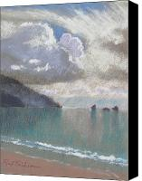 Oregon Coast Pastels Canvas Prints - Cloudy Seas Canvas Print by Reif Erickson