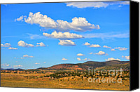 Prairie Photography Canvas Prints - Cloudy Wyoming Sky Canvas Print by Donna Van Vlack