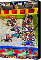 Gambling Canvas Prints - Clown car racing game Canvas Print by Garry Gay