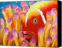 Silk Postcard Tapestries - Textiles Canvas Prints - Clown Fish  Canvas Print by Daniel Jean-Baptiste