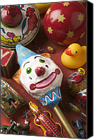 Clowns Canvas Prints - Clown Rattle And Old Toys Canvas Print by Garry Gay