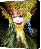 Hairstyle Digital Art Canvas Prints - Clown Canvas Print by Robert Sloan
