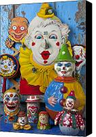 Figures Canvas Prints - Clown toys Canvas Print by Garry Gay
