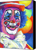 People Pastels Canvas Prints - Clown with Balloons Canvas Print by Stephen Anderson