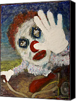 Creepy Painting Canvas Prints - Clownbike Canvas Print by David DeHetre