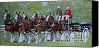 Fall Canvas Prints - Clydesdale Hitch Canvas Print by Anda Kett