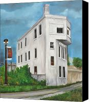 Quebec Painting Canvas Prints - CN Wellington Control Station Canvas Print by Reb Frost
