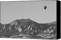 Hot Air Balloon Canvas Prints - CO Rocky Mountain Front Range Hot Air Balloon View BW Canvas Print by James Bo Insogna