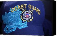 Turquois Canvas Prints - Coast Guard Cap Canvas Print by Linda Phelps