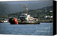 Oahu Digital Art Canvas Prints - Coast Guard Ship Honolulu Harbor Canvas Print by Thomas R Fletcher