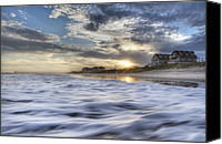 Topsail Island Canvas Prints - Coastal Currents Canvas Print by East Coast Barrier Islands Betsy A Cutler