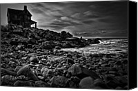 Rocks Canvas Prints - Coastal Home  Kennebunkport Maine Canvas Print by Bob Orsillo